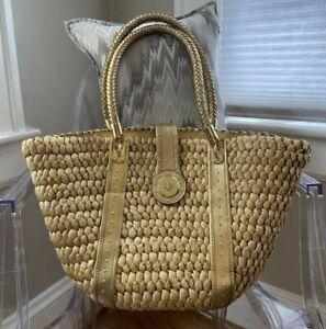 MICHAEL KORS Large Handbag Gold Leather Trim and Straw Bag; Pre-Owned