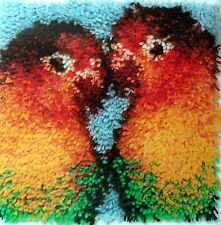 "WONDERART CARON LATCH HOOK (RUG) PILLOW    ""LOVE BIRDS"""