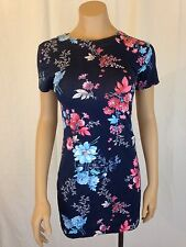 FRENCH COLLECTION Genevieve Jersey Short Sleeve Dress Navy Floral Sz 8 MSRP $108