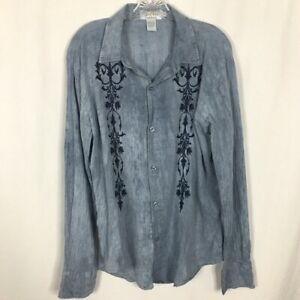 Pop Icon Clothing Men's Men's Button Front Shirt ~ M ~ Blue w/ Embroidery Detail