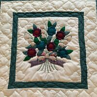 """Hand Quilted Wall Hanging Floral 30x30"""" (e)"""