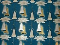 VTG CHRISTMAS WRAPPING PAPER GIFT WRAP NOS GORGEOUS SILVER & GOLD BELLS ON BLUE