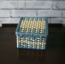 Retro Vintage Kitsch Blue and White Woven Square Plastic Sewing Box