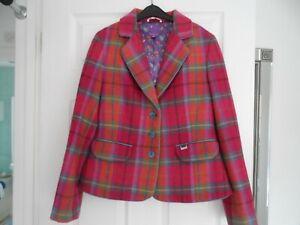 Ladies stunning Ness jacket 100% wool pink/orange/blue/yellow tweed mix size 12