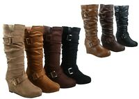 NEW Women's Round Toe Flat Wedge Zip Up Slouchy Mid Calf Boots Shoes Size 5 - 10