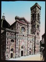 Glass Magic Lantern Slide GIOTTIO TOWER & CATHEDRAL FLORENCE C1890 PHOTO ITALY