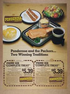 1981 Ponderosa Steakhouse Prime Rib Dinners vintage print Ad