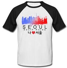 Seoul South Korea - BLACK SLEEVED BASEBALL COTTON TSHIRT