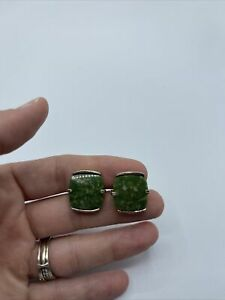 Vintage Jade Color Stone and Gold Tone Swank Cufflinks #C41