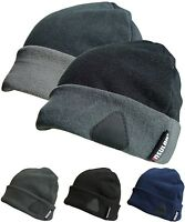 Mens Fleece Beanie Hat Fully Lined Winter Warm Beanies Sport Hats 2 Tone Cap