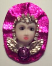 Lady Head Face - Hot Pink New Collectible Vintage Porcelain-Look brooch pin -