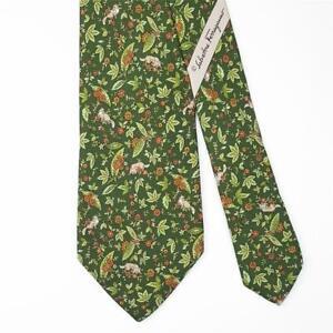SALVATORE FERRAGAMO TIE Floral & Fox on Green Skinny Silk Necktie