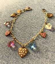 Top Shelf Jewelry Victorian Reproduction Stamped Brass Heart Crystal Bracelet