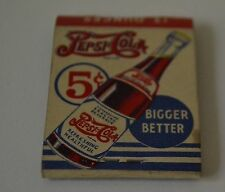 Original Pepsi Cola Bigger-Better .05¢ Pepsi Bottle Match Book - D.D. Bean & Son