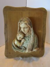 Vintage chalkware Plaster  wood wall plaque 3D Religious Mary Jesus Mother child