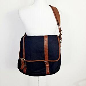 Fossil Leather Trim Canvas Messenger Laptop Bag Navy Blue