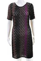 Missoni  Womens A Line Wool Dress Black Purple Size 36