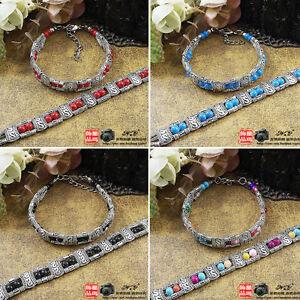 Retro Tibetan Silver Multicolor Beads Bracelet Handmade Chinese style SL0142