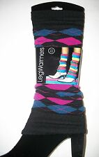 1 Pair Women ARGYLE LEG WARMERS Magenta/Teal, Purple/Lime, and Navy/Red