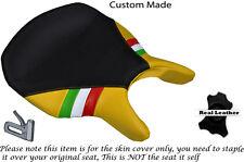 BLACK & YELLOW LEATHER ITALIAN FLAG CUSTOM FITS DUCATI 999 749 RIDER SEAT COVER