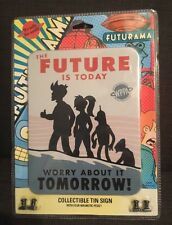 New Futurama Tin Sign Original NIP The Future Is Today collectible Magnetic Pegs
