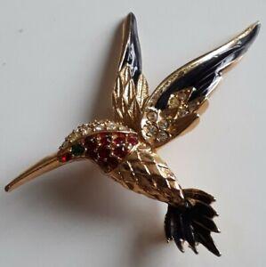 Sphinx gold tone enamel and rhinestone hummingbird / Costume Jewellery /Vintage