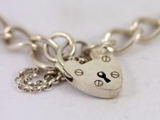Bordillo pulsera corazón candado Broche señoras plata esterlina Vintage 925 13.5g SS80