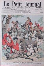 CHASSE A COURRE CHARGE DE SANGLIERS COR CHIENS   GRAVURE PETIT JOURNAL 1906
