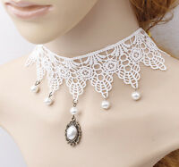 BRIDAL CHOKER NECKLACE WHITE LACE WEDDING COLLAR PEARL BEADS CHOKER BEST GIFT 17