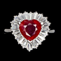 Heart Red Ruby 8mm White Cz 14K White Gold Plate 925 Sterling Silver Ring Size 7