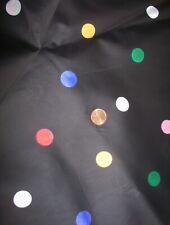 "Vintage Taffeta Fabric Black w/ Multi Color Polka Dots 4 yds 45"" wide"