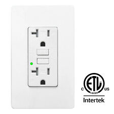 20A Gfci Gfi Safety Outlet Receptacle w/ Wall Plate Led Indicator - White, Etl