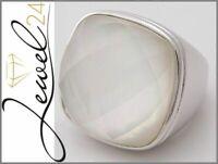 Damen Ring echt Silber 925 Sterling Perlmutt und Bergkristall 56/17,8mm Solitär