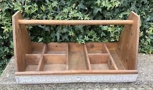 HANDMADE WOODEN COMPARTMENT TRUG STORAGE CADDY CRAFT TIDY ~ SHABBY CHIC