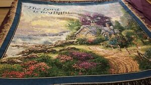 "THOMAS KINCAID Sofa Afghan Throw Blanket Scripture ""Lord is my Light"" Clean"