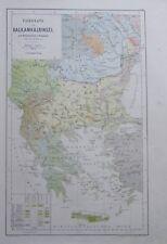 Karte aus 1889 - Völkerkarte der Balkanhalbinsel - alte Landkarte old map