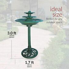 Antique Outdoor Garden Bird Bath Green , Lightweight 28 Inch Height Polyresin
