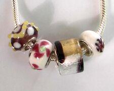 4 x Beads *** AUS ECHTEM SILBER und Glasperle, weinrot