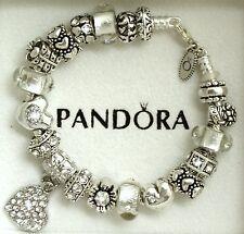 Authentic Pandora Charm Bracelet Heart Love Gift Flower New European Charms