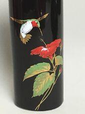 Vintage Otagiri Japan Black Porcelain Vase Hummingbird Gold Trim Oval Gibson