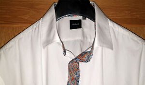 Dobell (Size 18½) Men's White Dress Shirt with Paisley Highlights