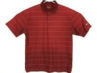 Nike Golf Mens Fit Dry Short Sleeve Polo Striped Shirt Red Size L