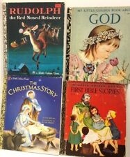 4x kids books Catholic vintage CHRISTMAS RUDOLPH GOD BIBLE STORIES FREE POST