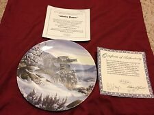 """Winter Dawn"" Plate Mint/Coa On Golden Wings Collection Game Birds Bradford"