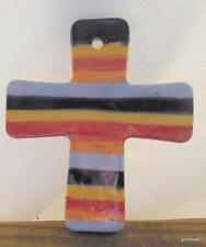 """Ceramic Cross with Hole for Hanging Stripes 3.25 x 3"""" Made in Mexico"""
