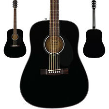 Fender CD-60S Acoustic Guitar Solid Spruce Top In A Black Finish Dreadnought NEW