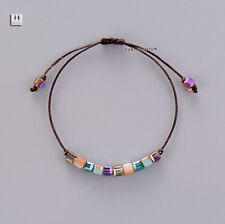 Tila Beads Friendship Bracelet Square Surf Beach Surfer Chakra Leather Pearl