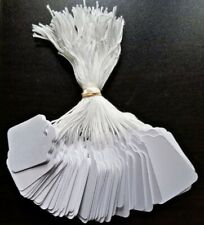 1000 Blank White Merchandise Price Tags With Strings Retail Strung Label Card