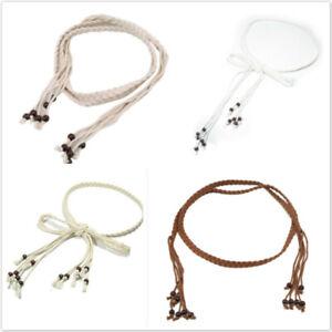 Women Dress Self-Tie Rope Woven Tassel Belt Bowknot Waist Braided Decorated GR