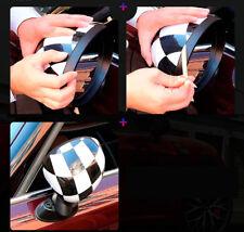 For MINI Cooper F54 F55 F56 F57 F60 Checkered Side Mirror Cover Cap With Light